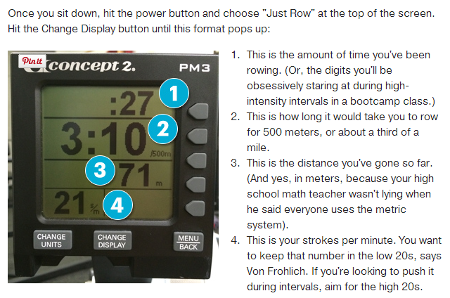 What do the numbers on a rower mean?